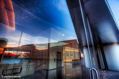 Nelson Atkins Museum (ericbowers) Tags: sunset fall twilight interior bluesky kansascity missouri nelsonatkinsmuseumofart stephenholl glassreflection blochaddition ericbowers
