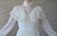 Montgomery Ward Victorian Style Buttercream Lace & Rayon Ruffled Gown Close Up Front (mondas66) Tags: ruffles dress lace victorian dresses romantic gown elegant gowns ornate rayon lacy sheer frilly elegance ruffle montgomeryward buttercream frills frill ruffled lacework frilled frilling frillings befrilled