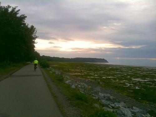 following Eva on the coastal trail
