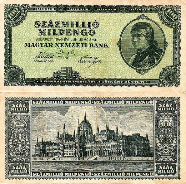 100 miliónov MilPengő Maďarsko 1946, P130
