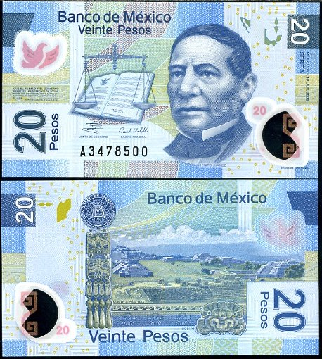 20 Pesos Mexiko 2006 polymer, P122