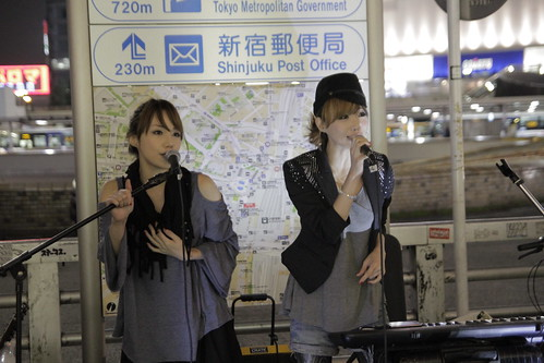 Mai and Mami of Red Pepper Girls performing at Shinjuku 2