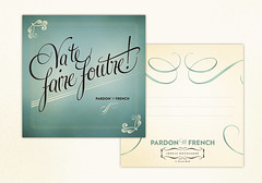 Pardon My French (SarahMick) Tags: illustration vintage french typography design graphicdesign postcards type ribbon script cursive insult notecards printdesign sarahmick