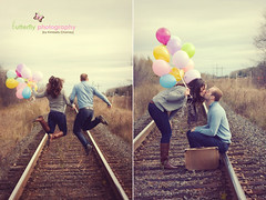 Drew & Athena {E-Session} (Kimberly Chorney) Tags: love vintage balloons engagement jumping kiss boots traintracks naturallight suitcase dippy