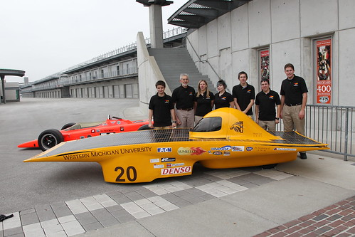 Western Michigan students in front of the Sunseeker solar car