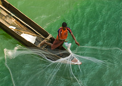 Fisherman (Shubh M Singh) Tags: blue light shadow india green net water composition work river fishing fisherman nikon view shot employment pov top tshirt pollution environment d200 nikkor orissa ecosystem livelihood