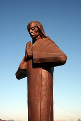 Greeting and praying at the airport (roomman) Tags: people brown colour statue tia person airport model colours famous pray praying mother entrance holy international theresa figure airbus nana teresa greetings albania greeting greet airfield 2010 nane motherteresa tirana mothertheresa rinas tirane lati a320233