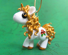Christmas Unicorn (DragonsAndBeasties) Tags: christmas sculpture horse cute statue gold rainbow magic tail small chibi charm polymerclay fimo ornament pony fantasy gift tiny kawaii sculpey etsy custom figurine unicorn pendant mane jewel phonecharm premo zipperpull