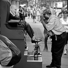 Day in New York 4 (Nick Mulcock) Tags: new york old city nyc newyorkcity bw white black st canon shoe photo shine telephoto avenue shoeshine 5th 42nd g11 flickraward