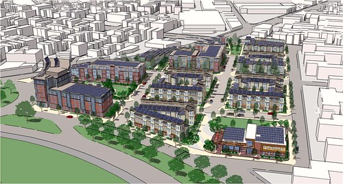 note the solar panels on the redevelopment rendering (by: Boston Redevelopment Authority)