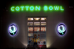 The Ol' Cotton Bowl (Amanda SG) Tags: park white green sign night lights dallas 1930s neon texas state statefair fair cotton deco cottonbowl fairpark 2010texasstatefair