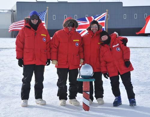 At the ceremonial marker with my Pole mates (from left) Ola Thorsen, Phil Deavel, me, and Dr. Lisa Clough. Mark Doll was taking the picture. Thanks, Mark.
