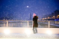 City Snow (shaymurphy) Tags: bridge pink ireland dublin woman snow storm girl hat night scarf lights blizzard beckett samuel onphone nikond700 nikkor2470f28