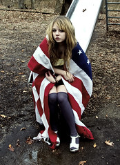 aftermath usa (yyellowbird) Tags: usa selfportrait girl playground tennessee flag american blanket cari
