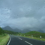 (rainy) view from the car of The Cuillins thumbnail