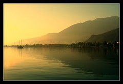 Fethiye Harbour (Joe mulgrew) Tags: reflection water yellow marina sunrise turkey gold dawn golden bay boat harbour dream hills gulet fethiye lycian gullet reflectons turkishgullet bestcapturesaoi passiondéclic