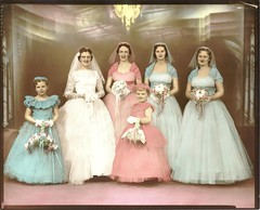 A Sherbet-Colored Wedding (clotho98) Tags: wedding vintage glasses bride photo fifties lace pastel formal kitsch 1950s bridesmaid bouquet flowergirl bridal sherbet tinted handtinted girlsgonewild frufru ilovethisphoto