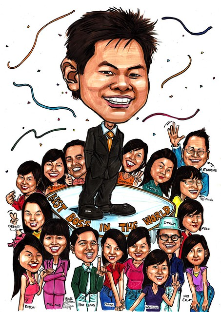group caricatures for Citibank - best boss in the world A2