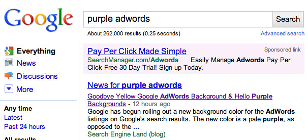 Pale Purple Google AdWords Ads