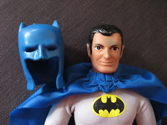 Batman Mego 9215 (Brechtbug) Tags: new old original wearing standing comics toy him lost toys for this book see dc costume outfit nice comic action bruce wayne super retro used midtown suit again figure batman packaging after got years but heroes 1972 today tarzan 38 mego except removable cowl i retroaction