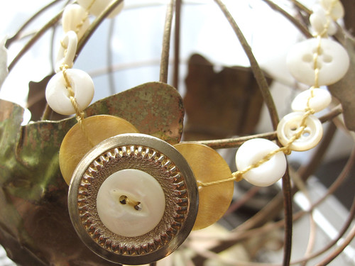 Golden button necklace #3