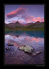 Peak Light At Ice Lake (Koveh Photography) Tags: lake mountains reflection rock sunrise canon eos colorado purple shore cloudscapes 1635 icelake ef1635 icelakebasin 5dmkii