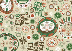 """Afrotropical"" pattern (paintedbox) Tags: africa brazil color geometric face fashion illustration circle cores pattern faces mask african afro moda collection ornaments tropical mascara illustrator portfolio coloured entities roupa africano simbolos colorido ornamento ilustracao rostos vestuario simbols simbolic tropicalismo entidades ilustradora afrotropical annaanjos afrotropicalismo"