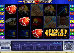 free Sneak a Peek Hunky Heroes gamble bonus game
