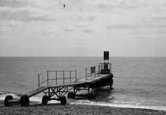 Landing stage on Branscombe beach (Alastair Cummins) Tags: ocean sea bw beach water nikon stage landing devon 1855mm channel landingstage branscombe d40