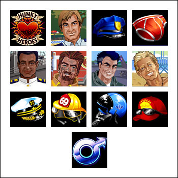 free Sneak a Peek Hunky Heroes slot game symbols