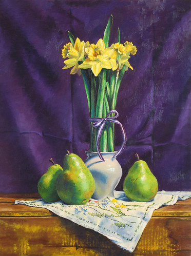 20100406 Daffodils and Pears 24x18