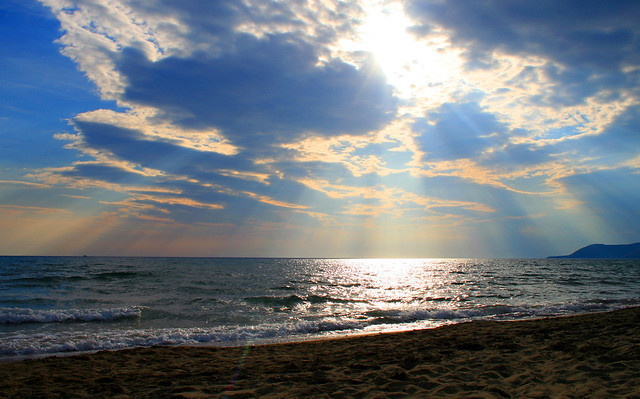 Foto tramonto sul mare Costiera cilentana