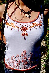 embroidered top with sequins and beads (april-mo) Tags: beads handmade embroidery stitches sequins embroideredtshirt handembroidery embroideredmotif embroideredart stitchedbyhand embroideredwithsequins embroideredwithbeads