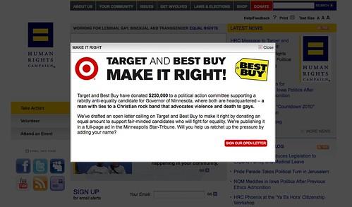 HRC.org's Website Explaining Target Best Buy
