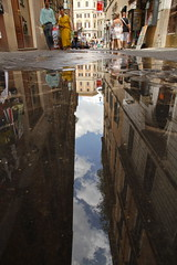 una bottiglia di roma (maybemaq) Tags: street sky italy holiday rome roma reflection tourism water vertical dark underground puddle alley italia centro pedestrian bluesky symmetry trevi valley transparency gradation reflexions depth waterreflection donwtown maybemaq colorphotoaward geofront unabottigliadiroma abottleofrome