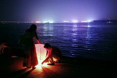 . (GraemeNicol) Tags: china festival night river couple asia riverside lantern wuhan yangzi changjiang hankou