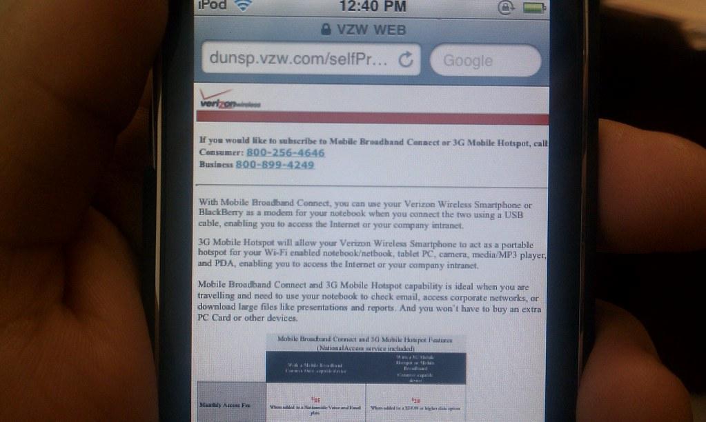 Verizon 3G screen