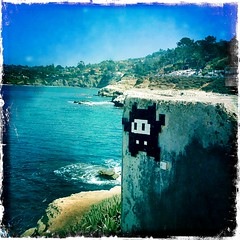 Space Invader Mosaic, La Jolla (johnwilliamsphd) Tags: ocean california ca camera blue sky copyright white black green mobile john tile sand phone williams sandiego mosaic space c hill cell lajolla sd invader iphone  williams john hipsta offflash johncwilliams johnslens iphoneography hipstamatic kodotverichromefilm johnwilliamsphd phd