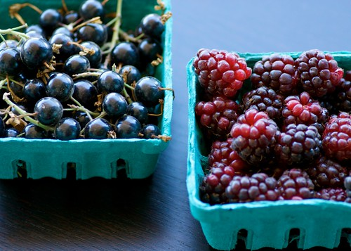 black currants and boysenberries