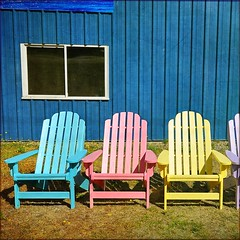 . chairs for sale . (susanonline (busy these days)) Tags: texture colours bc forsale chairs britishcolumbia vancouverisland muskoka adirondack tripoutwest itg 12inarow flypapertextures susanonline