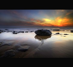 """ DUNRAVEN BAY "" (Wiffsmiff23) Tags: sunset reflections sand rocks patterns ripples southerndown dunraven dunravenbay passiondclic"