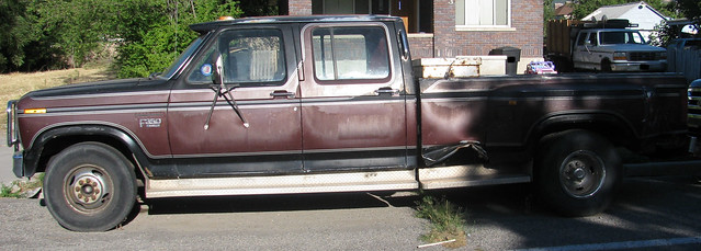 red ford truck rust rusty pickup dent faded rusted 1983 1985 dents beater americanmade f350 dented heavyduty dually crewcab fourdoor oneton dualwheels