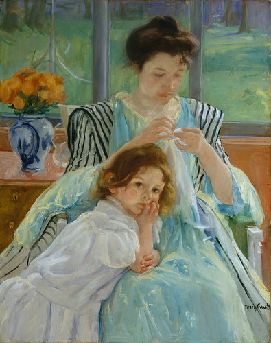 Mary Cassatt - Young Mother Sewing [1900]