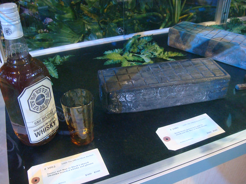 LOST Auction - Sawyers whiskey and Jacobs and Man in Blacks burnt senet game
