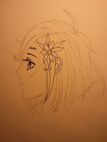 Manga Girl Profile - Step 4 - Starting Ink