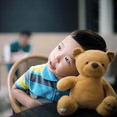 (*YIP*) Tags: portrait baby stuffedtoy cute 120 6x6 film boys kids mediumformat children square asian toy singapore teddybear males anson kiev60 epsonv500 yipchoonhong