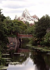 Everest (PelicanPete) Tags: bridge reflection nature landscape unitedstates snowcapped replica lilypads everest grounds animalkingdom overview loadingdock orlandoflorida calmriver