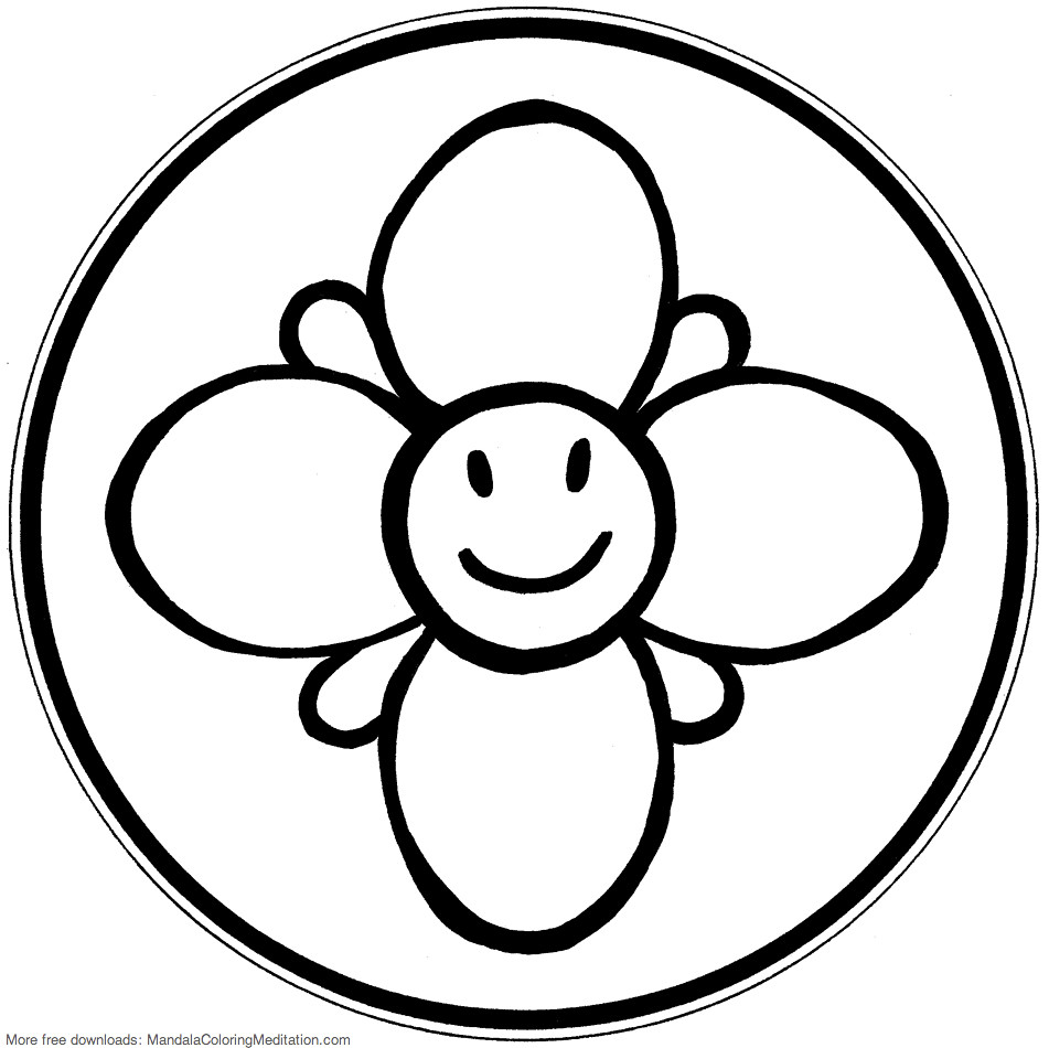 Printable Children Coloring Page Smiley Flower Mandala Pages Tags