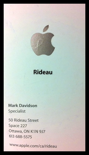 Business card of the Apple specialist who helped me a