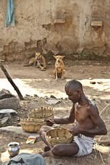 The Basket Weaver (evilibby) Tags: india work working baskets khajuraho wickerbaskets unknownvillage makingwickerbaskets